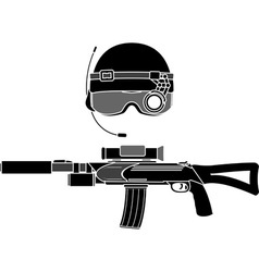 Military helmet and assault rifle vector