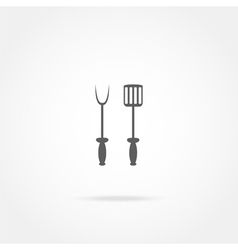Spade and fork for grill icon vector