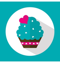 Valentine cake flat icon with long shadow vector