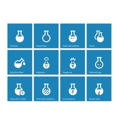 Laboratory glass icons on blue background vector