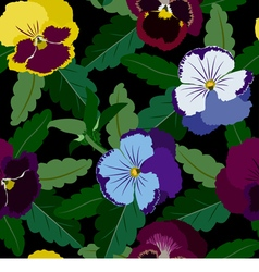 Seamless background from pansy flowers and leaves vector
