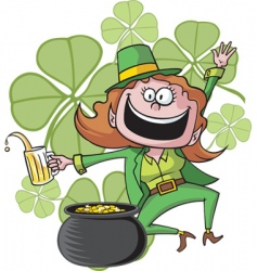 Girl leprechaun vector