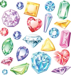 Set of precious stones of different cuts and vector