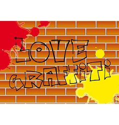 Love graffiti with paint over bricks background vector