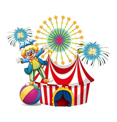 A male clown playing outside the tent vector