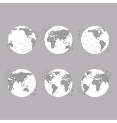 Set of globes world map  background for vector