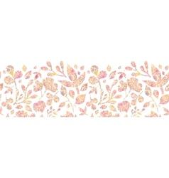 Textured pastel leaves horizontal seamless pattern vector