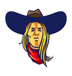 Long hair cowboy vector