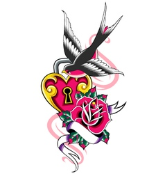 Bird and heart ribbon emblem vector