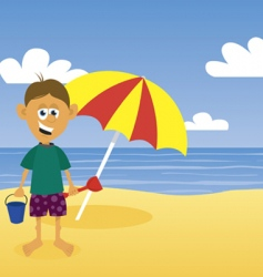 Man at beach vector