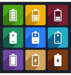 Battery flat icons set 22 vector