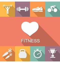 Sports background with fitness icons in flat vector