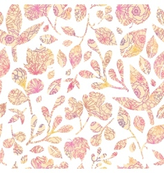 Textured pastel leaves seamless pattern background vector