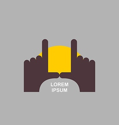 Logo of hands sunset vector