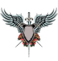 Heraldic shield emblem vector
