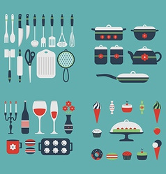 Set of kitchen utensils and food vector