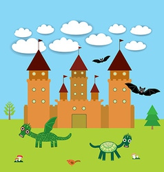 Card with castle fairytale landscape with dragons vector