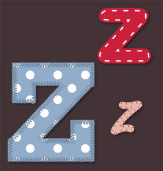 Set of stitched font - letter z vector