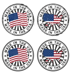 Stamp with map flag of the usa made in the usa vector