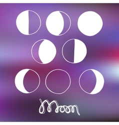Cartoon moon and moon phases vector