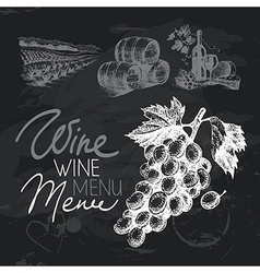 Wine hand drawn chalkboard design set vector