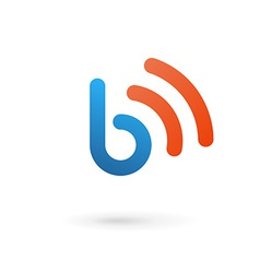Letter b wireless logo icon design template vector
