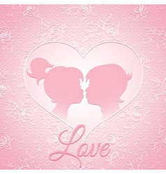 Delicate pink love card vector