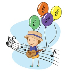 A young musician with balloons at the back vector
