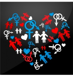 Male female icons forming heart vector