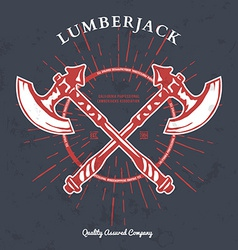 Crossed axes lumberjack graphic tee t-print vector