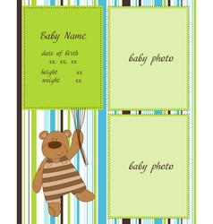 Baby arrival card with photo frames vector