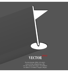 Golf flag flat modern web button with long shadow vector