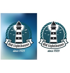 Nautical theme emblem with lighthouse vector
