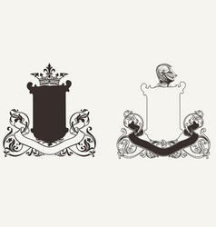 Two heraldry knight crests vector