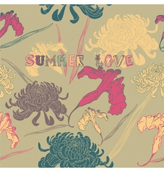 Summer flowers seamless background vector