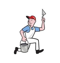 Plaster masonry worker cartoon vector