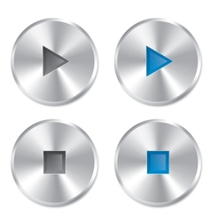 Realistic metallic play and stop player buttons vector