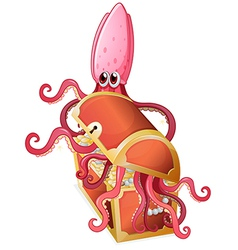 An octopus inside the treasure box vector