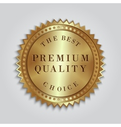 Round golden badge label with text vector