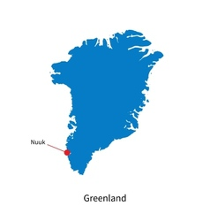 Detailed map of greenland and capital city nuuk vector
