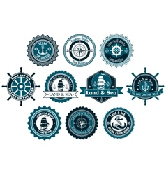 Circle marine heraldic labels vector