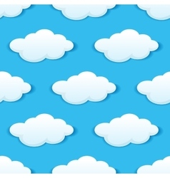 Blue sky with white clouds seamless pattern vector