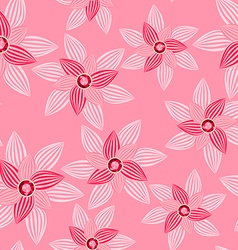 Pink flower with gemstone seamless pattern vector
