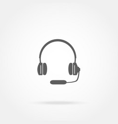 Headphones with a microphone headset icon vector