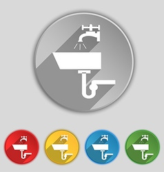 Washbasin icon sign symbol on five flat buttons vector