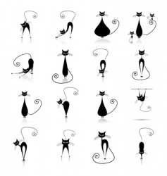 Black cat silhouettes vector