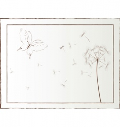 Dandelion and butterfly framed vector