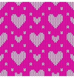 Knitted seamless pattern hearts vector