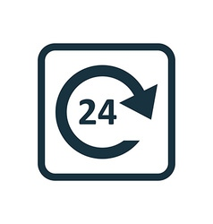 24 hours service icon rounded squares button vector