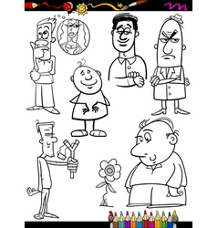 People set cartoon coloring page vector